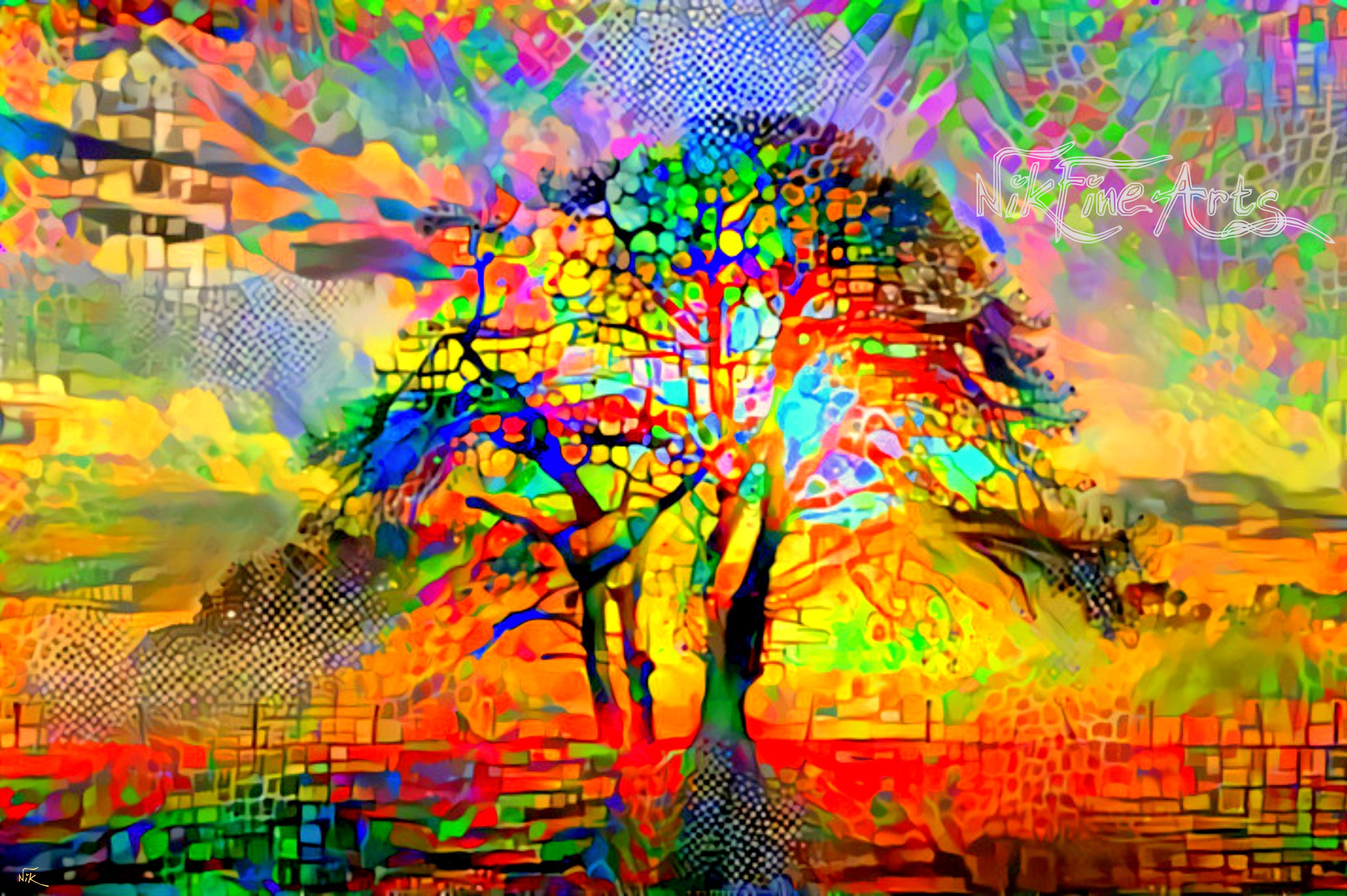 COLORFUL ABSTRACT TREE - Nik Fine Arts - Original ...