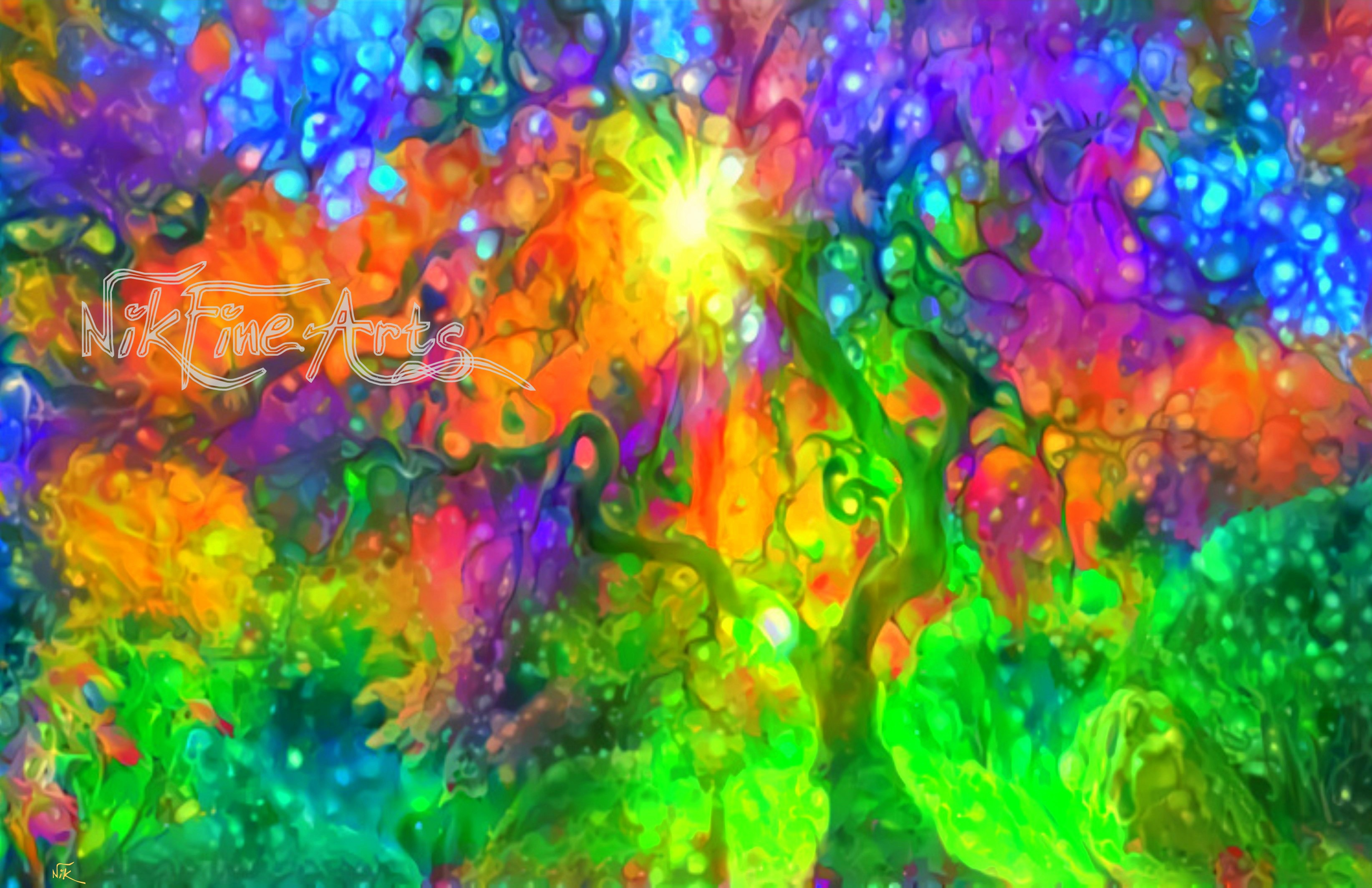 ABSTRACT COLORFUL TREE – Nik Fine Arts – Original Paintings and ...