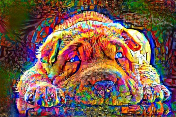 shar pei dog painting