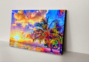 ocean beach with palms painting