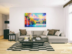 AMAZING WATERFALL ON SUNRISE - canvas print