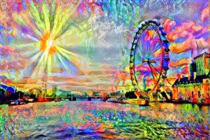 LONDON EYE WITH SUN RAYS
