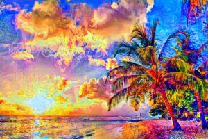 OCEAN BEACH WITH PALMS