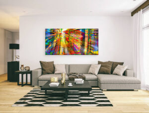 SUN RAYS WITH COLORFUL TREES - canvas print